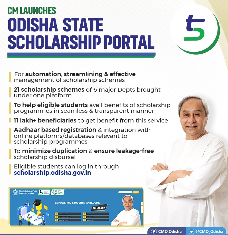 CM has launched an integrated Odisha State Scholarship Portal
