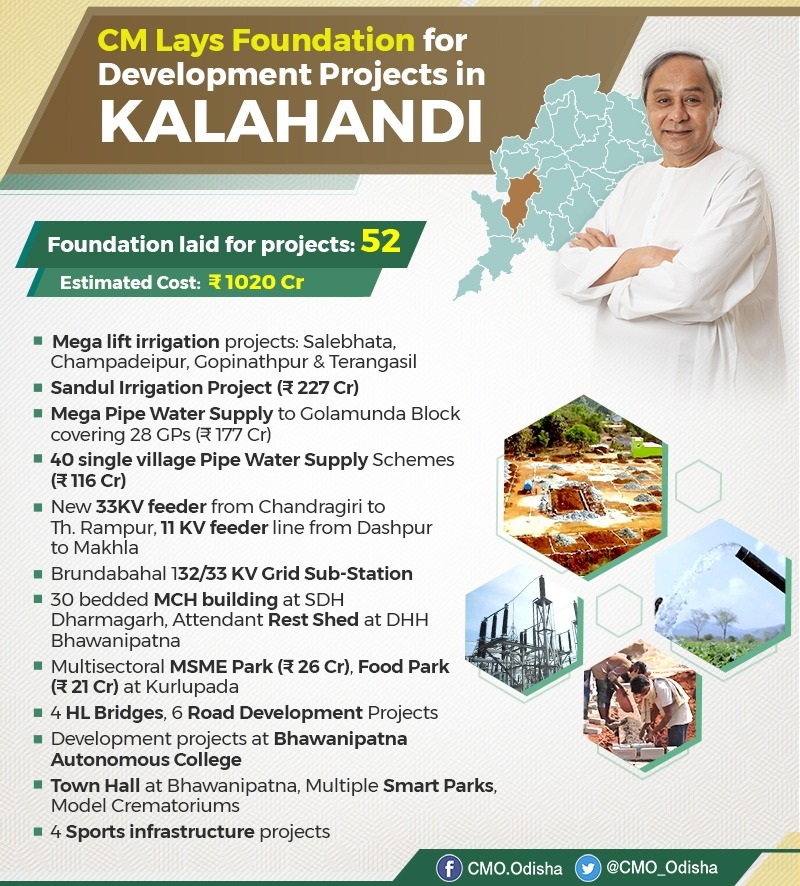 CM Naveen Patnaik laid foundation for 52 projects worth Rs 1020 Cr