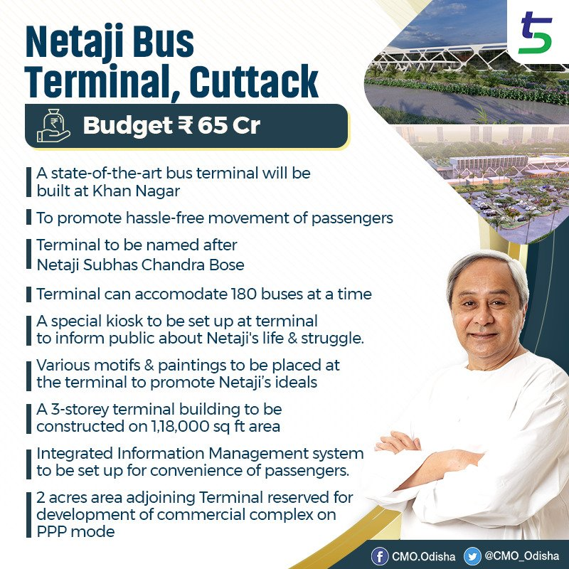 A state-of-art bus terminal will be built under 5T framework at a cost of Rs 65 Cr at Khan Nagar