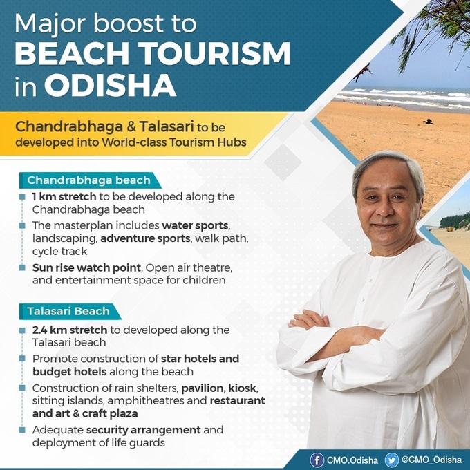 Odisha Govt decided to transform Chanadrabhaga & Talasari beaches into world-class Tourism Hubs